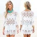 Nueva playa de las mujeres vestidos de verano empalme casual mini vestido blanco sexy ahueca hacia fuera el vestido de la playa 2016 Pareos ropa mujer traje de baño salida