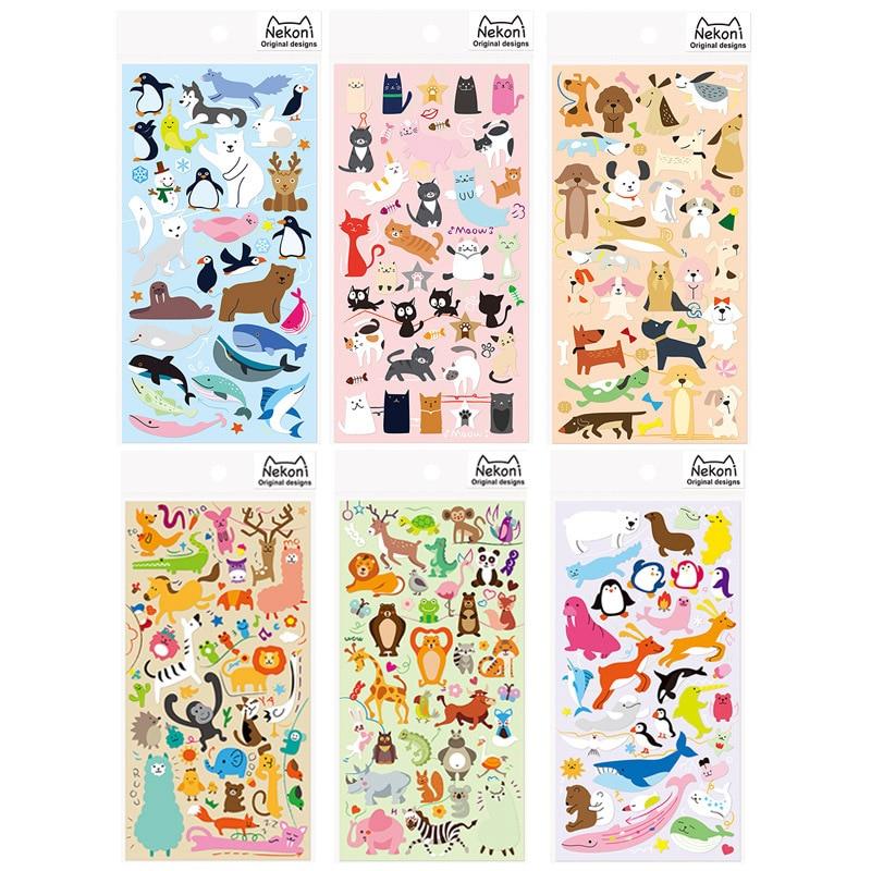 6 pcs/Lot Cute animals sticker Nekoni Polar bear Sea animal Dog cat funny stickers for kids scrapbooking School supplies smilodon tiger lion polar bear cheetah eagle classic toys for boys ferocious beast movable animal small size without box