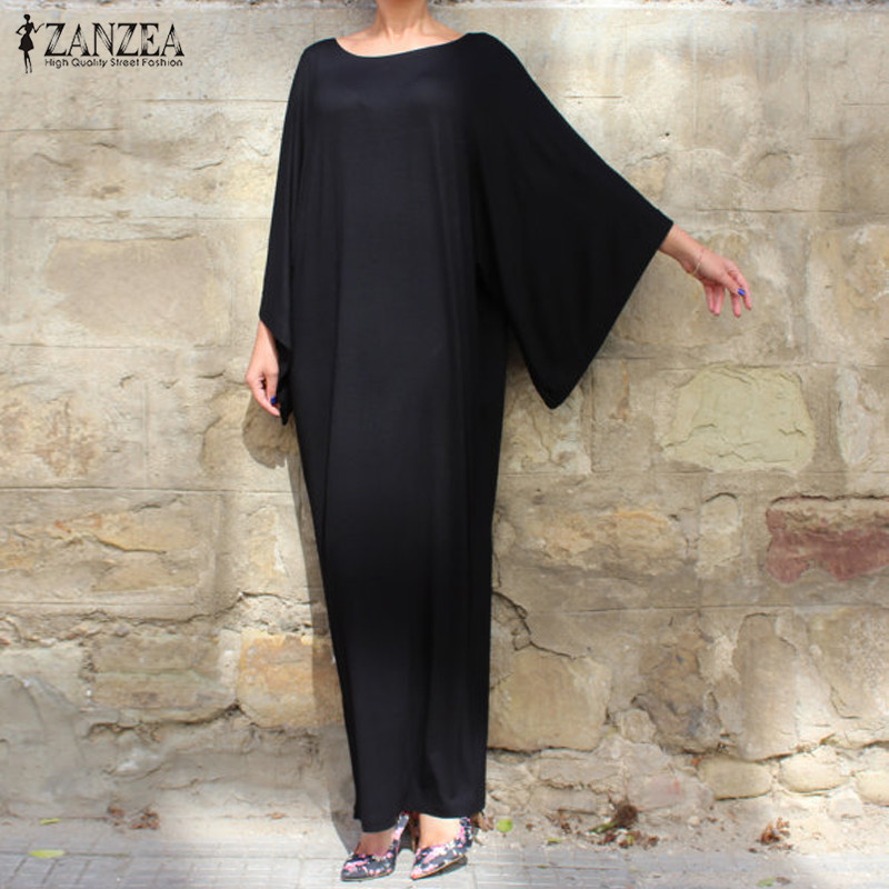 2018 ZANZEA Women Summer Dress Casual Stretch Loose Solid Maxi Long Dress 3/4 Batwing Sleeve O Neck Party Dresses Vestidos ...