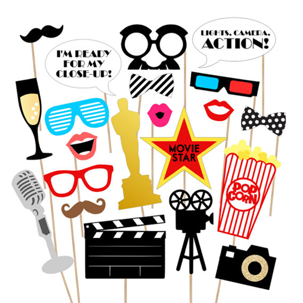 33pcs Hollywood Movie Theme Birthday Party Decorations DIY Video Recorder Paper Cards Photobooth Props Office Party Supplies