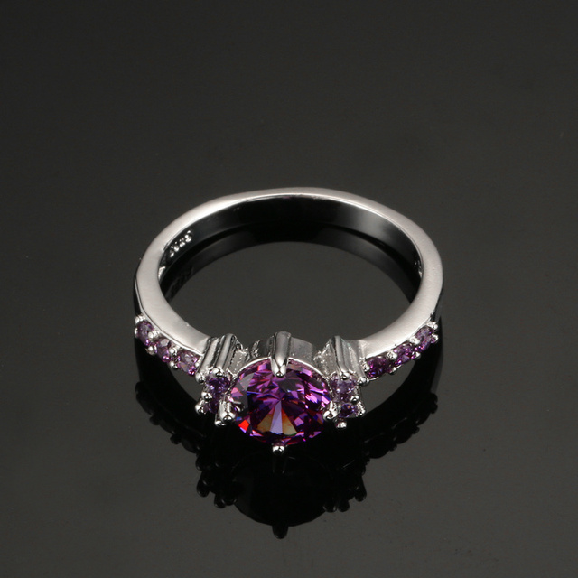 Mysterious Purple Austrian Crystal Rings For Women Wedding 925 Sterling-Silver-Jewelry Bijoux Femme Chic AAA Stone Aneis DD199