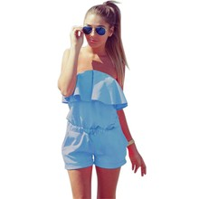 2019 Summer Women Fashion Casual Ruffles Strapless Dresses Womens Beach Waist Tightening Candy Color Dress