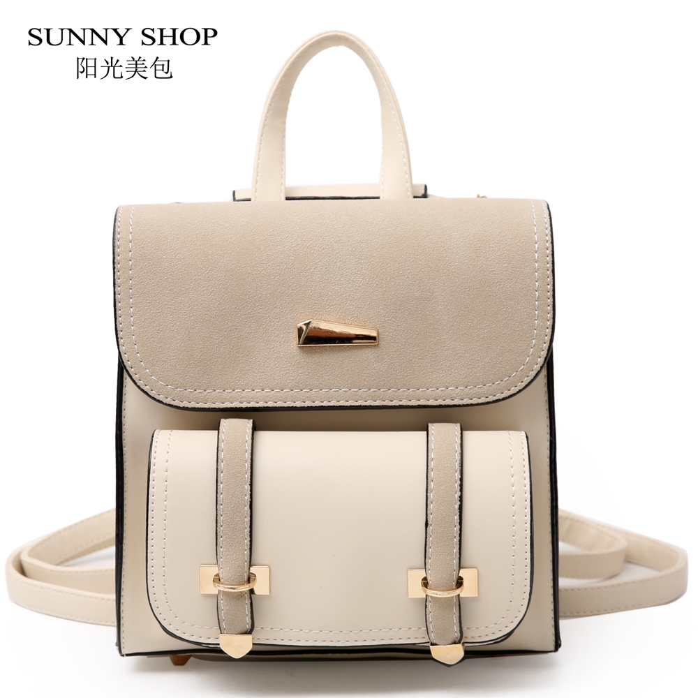 SUNNY SHOP Korean Style 2018 Backpack Small Female Lolita Bag PU Leather  Bagpack High School Girl Small Notebook Backpack Flap 106c400dc5a97