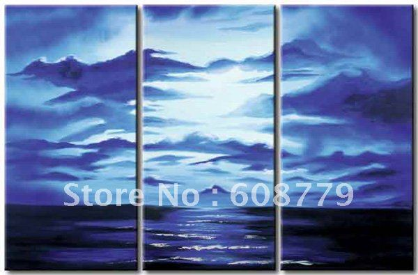 Free shipping stretched ocean wave landscape paintingFree shipping stretched ocean wave landscape painting