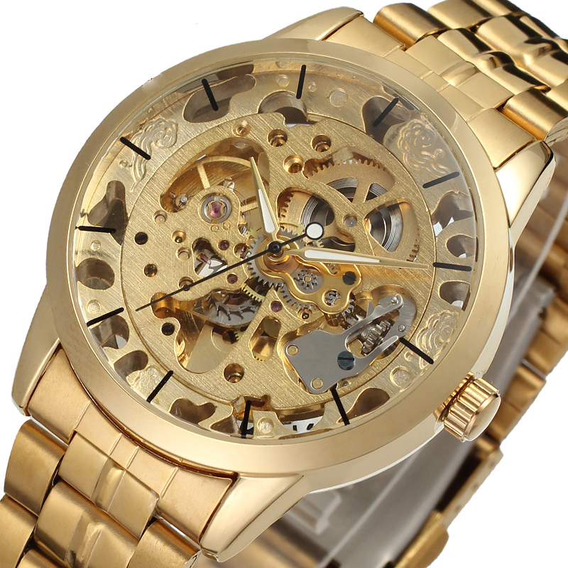 Los hombres de lujo de oro de acero completo transparente reloj mecánico automático esquelético Steampunk relojes reloj hombres Relogio Masculino 2016