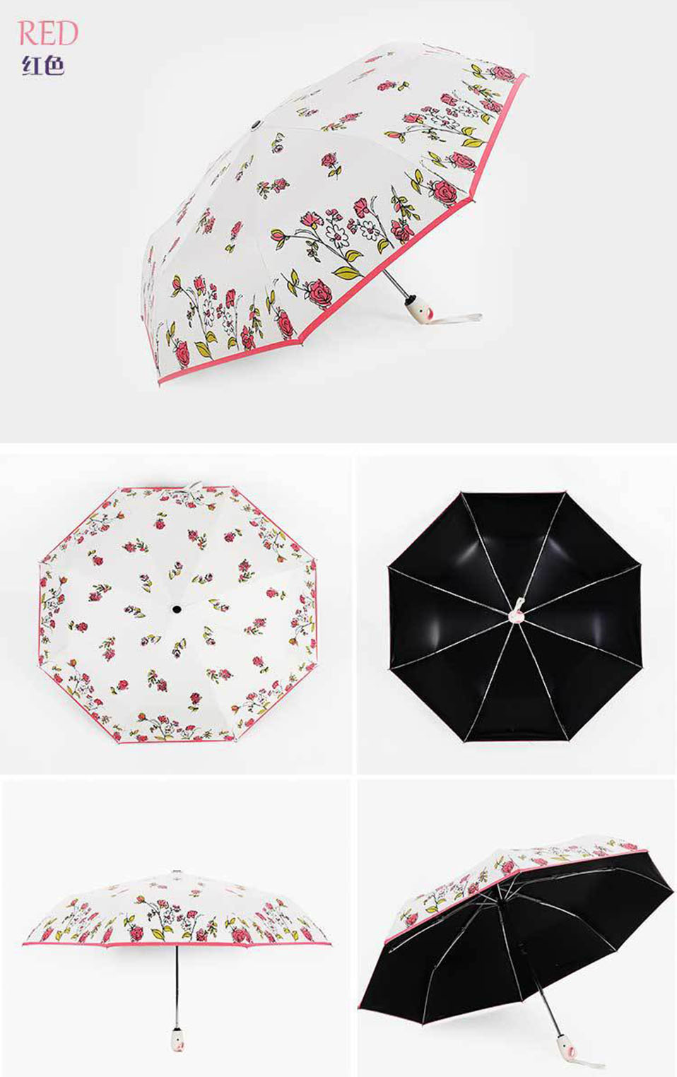 Full Automatic Reinforced Flower Umbrella Three Folding Female Parasol Umbrella Rain Women Windproof Cute Mini Folding Umbrella (11)