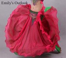 تنورة ماكسي شيفون حريمي 2 طبقات ثنائية اللون للرقص القبلية ATS تنانير طويلة للرقص الشرقي شحن مجاني