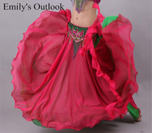 Women Chiffon Maxi Skirt 2 Layers Dual Color For Dance Tribal ATS Belly Dancing Long Skirts Free Shipping