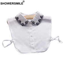SHOWERSMILE Women Fake Collar Shirt White Chiffon Detachable Female Fashion Embroidery Peter Pan Clothes Accessories