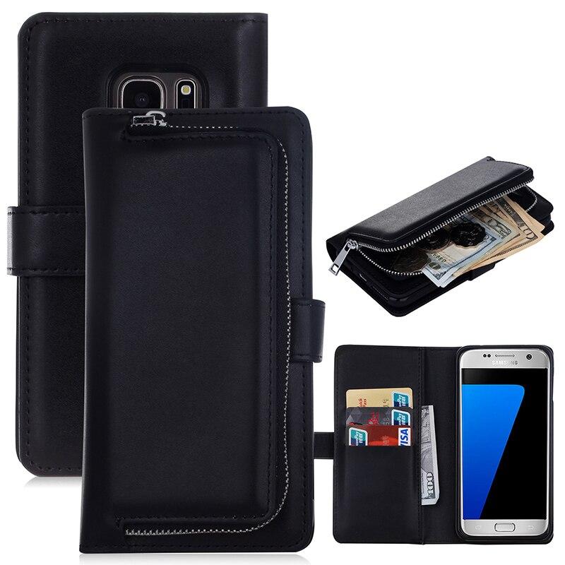imágenes para OneMinus Multifunción Funda Cartera De Cuero Para Samsung Galaxy S7 S7 borde Cremallera Monedero Caja de la Bolsa Bolso de La Señora Para S6 S5 nota7