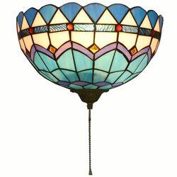 Tiffany ściany korytarza lampy półokrągłe kraty kolorowe szkło balkon kinkiet światła morza śródziemnego ganek kinkiet ścienny z przełącznikiem|Lampy ścienne|   -