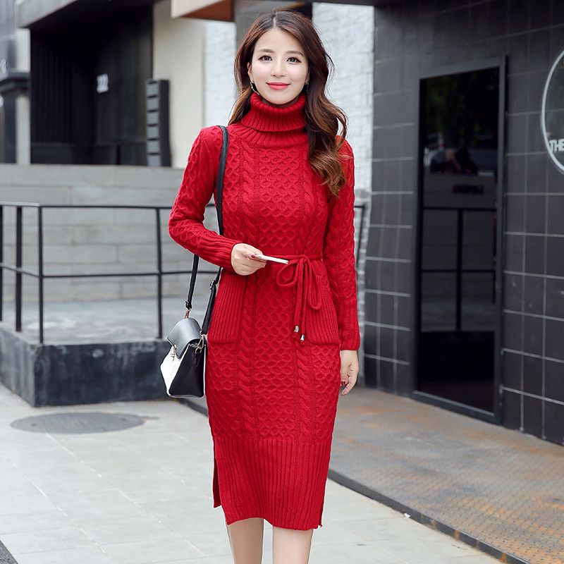 2018 Casual Turtleneck Long Knitted Sweater Dress Women Cotton Slim Bodycon Dress Pullover Female Autumn Winter Party Dresses