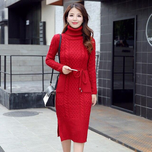 eefa21b963 2018 décontracté col roulé Long tricoté pull robe femmes coton Slim  moulante robe pull femme automne