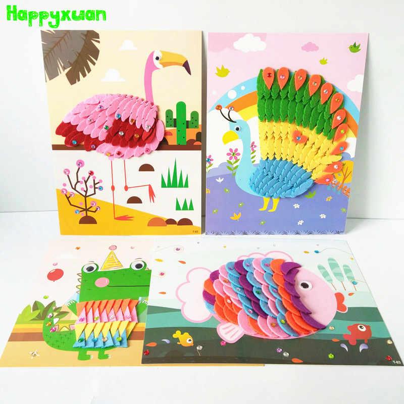Happyxuan 8 Desain Anak Kerajinan Kit Kartun Hewan Merasa Kain Stiker 3D Buatan Tangan Kreatif DIY Mainan TK Pendidikan