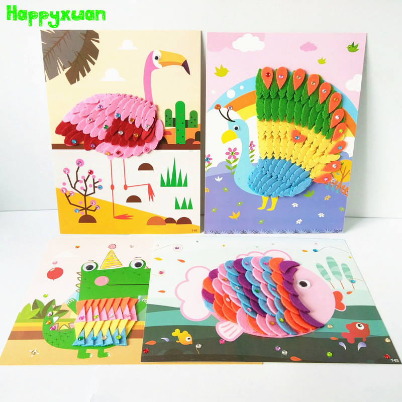 Happyxuan 8 projetos crianças kit de artesanato dos desenhos animados animal feltro tecido adesivo 3d artesanal diy brinquedo criativo educação do jardim infância