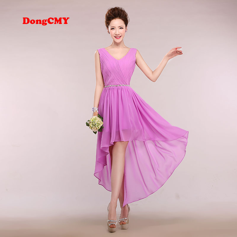 DongCMY new V-Neck beading bride lace up chiffon vestido longo elegant chiffon   dresses     Bridesmaid     dress