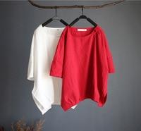 Women Casual Solid Color Shirts Cotton Linen Irregular Hem Blouse Female Summer Retro Short Shirts Ladies