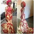 Estilo 2016 Vestidos Formais Africanos nigerianos Sheer Três Quartos Mangas Laço Vermelho Da Sereia Vestido de Noite Longo Vestido de Festa
