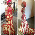 Nigerian Style 2016 African Formal Dresses Sheer Three Quarter Sleeves Red Lace Mermaid Evening Gown Long Party Dress