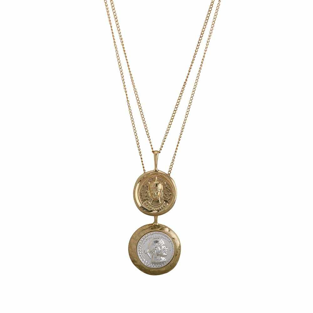 Vintage Gold silvery Color Carved Coin Necklace Figure Medal Long Chain Double Layered Necklace Pendant Women Choker