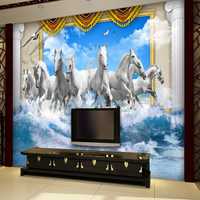 Beibehang Custom Large Wall Mural Painting Eight Horses Seamless Abstract  3D Stereoscopic TV Sofa Wallpaper Background Part 72