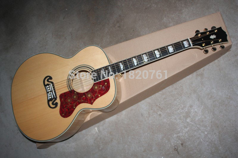 Free shipping Top Quality Natural wood Sj200 acoustic guitar solid guitar with AAA Solid spruce Back / Side Tiger stripes . hand made full solid wood acoustic guitar with free hard case free shipping