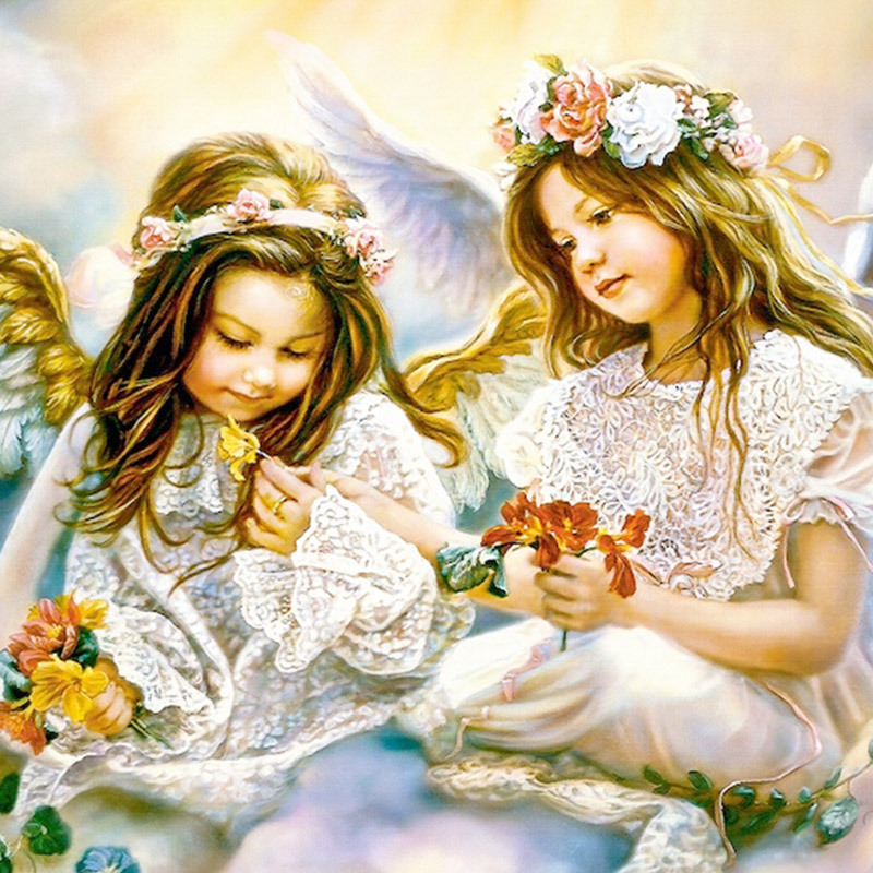 Square full of Diamond Painting Cross Stitch two cute angels diamonds cross stitch living room home decoration sale(China)