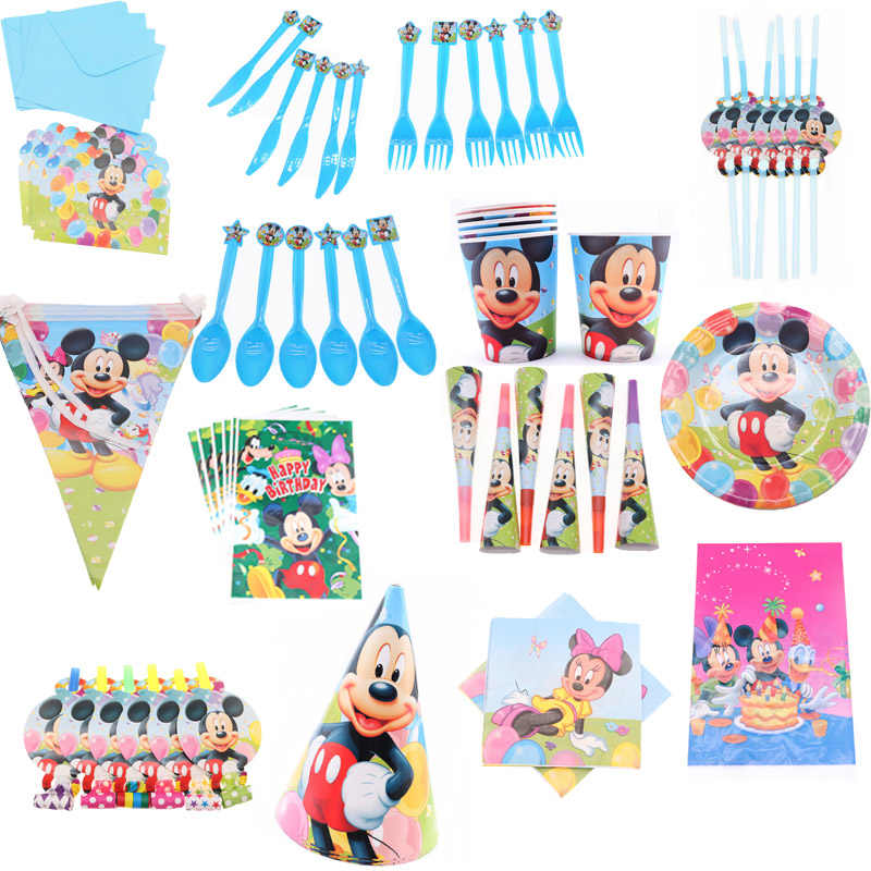 New Mickey Theme Birthday Decorations Kids Boy Disposable Tableware Set Napkin Paper Plate Cup Flag Party Supplies Favor