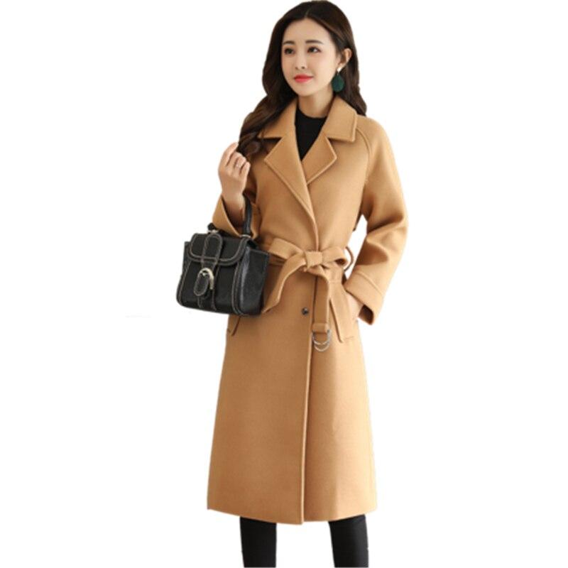 Womens coat autumn and winter 2018 new Female medium long Slim temperament Solid color large size belt Woolen cloth Coat x17