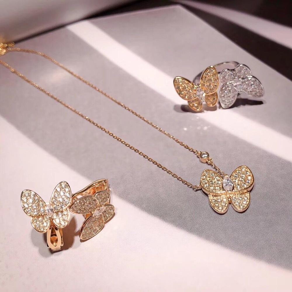 Conception de mode 925 en argent sterling cz zircon pierre papillon clip boucles d'oreilles collier en cristal ajuster taille ouverte anneau ensemble