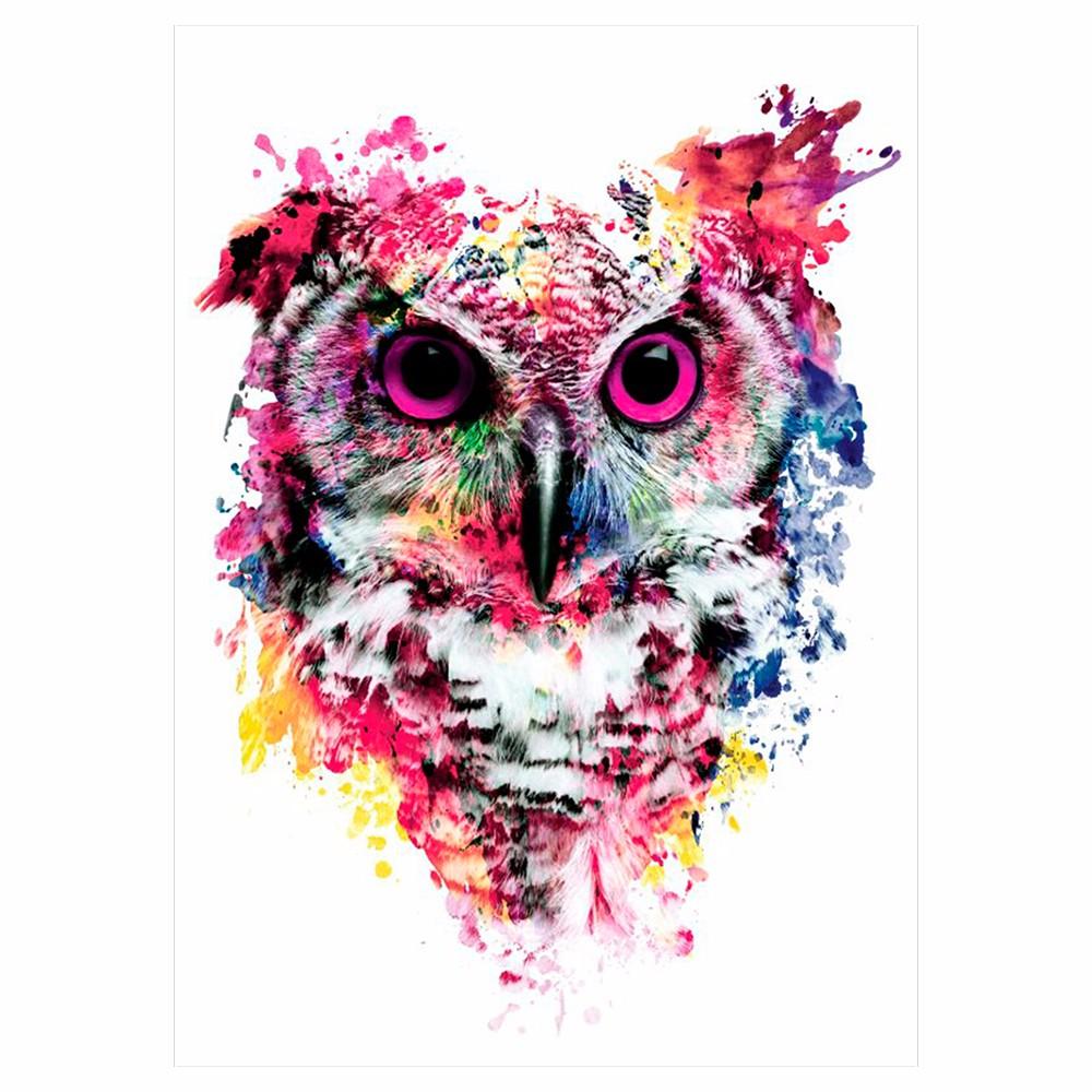 1 Sheet Colorful Drawing Temporary Tattoo Women Men Body Art Catoon Owl Decal Design KM-014 Waterproof Tattoo Sticker Watercolor (2)