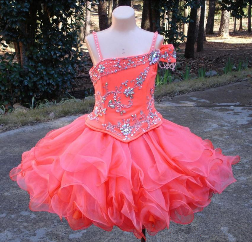 Lovely Mini Short Girl's Pageant Dresses Crystals Beaded Organza Zipper Back Flower Girl Dresses Cupcake Kids Pageant Gowns swarovski lovely crystals mini 5261481