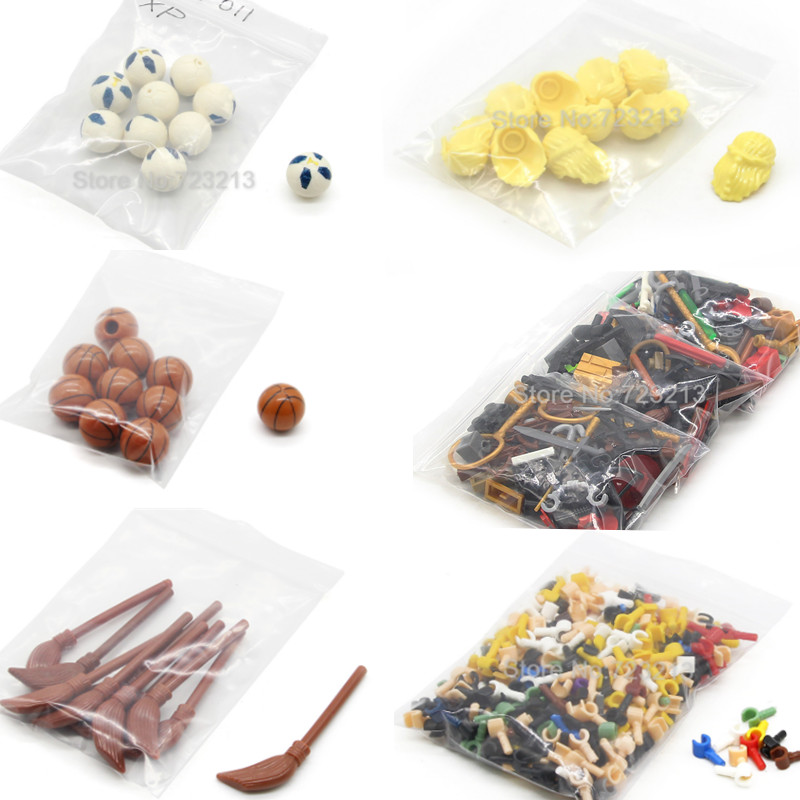 One Bag Feleph Legoed Figure Accessories Basketball Football Hands Hair Building Blocks For Figures Bricks Set DIY Toys For Kids