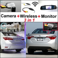 3 in1 Special Rear View Camera + Wireless Receiver + Mirror Monitor Easy Back Up Parking System For TOYOTA Corolla E170 Levin