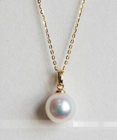 free shipping Natural Japanese 9 10mm Akoya Pearl Necklace Pendant