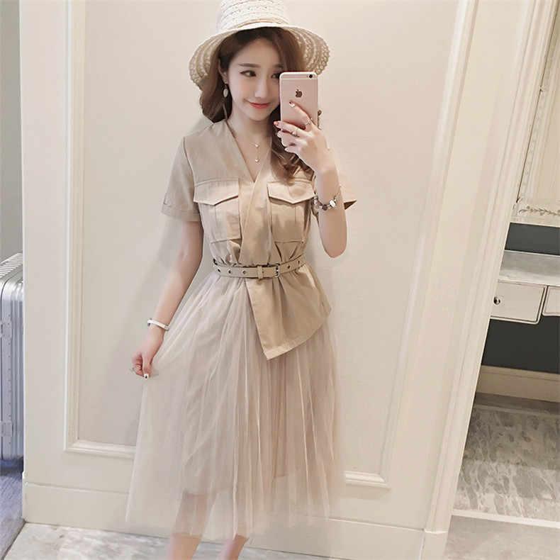 Nouveau haute qualité Explosions loisirs Vintage couleur correspondant robes femmes solide printemps été tenue décontractée