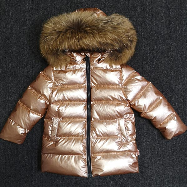Russian children's thick down jacket natural large fur collar gold silver down jacket boys and girls winter clothing pu leather and corduroy spliced zip up down jacket