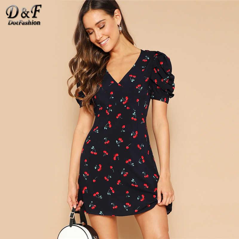 Dotfashion/темно-синее летнее платье с принтом вишни и бантом с открытой спиной для женщин, 2019, сексуальные вечерние платья с открытой спиной, v-образный вырез, пышные рукава, облегающее и расклешенное платье