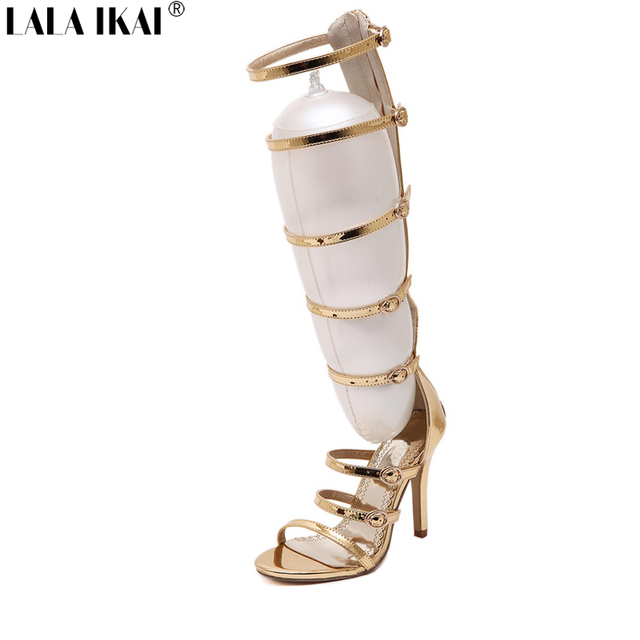 a641f62746996 US $59.99 |LALA IKAI gladiator sandals women 11 cm High Heels Shoes Mirror  Gold PU Leather summer boots Sexy cut out rome Stiletto XWF0975-in Women's  ...