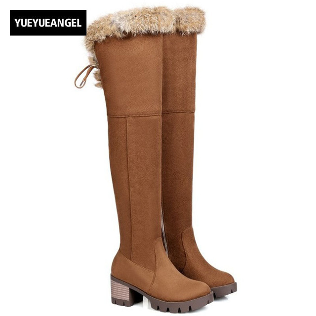 66cc98962e137 Winter Kawaii Rabbit Fur Trim Womens Shoes Warm Over Knee Snow Boots Block  High Heel Female Footwear Faux Suede Knight Boots