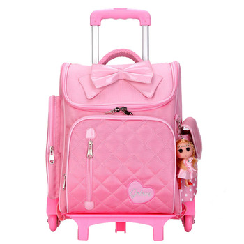 Lovely Children's Backpack 6 wheels Trolley School Bags Waterproof luggage travel bags Removable Wheeled Book Bag For Girls
