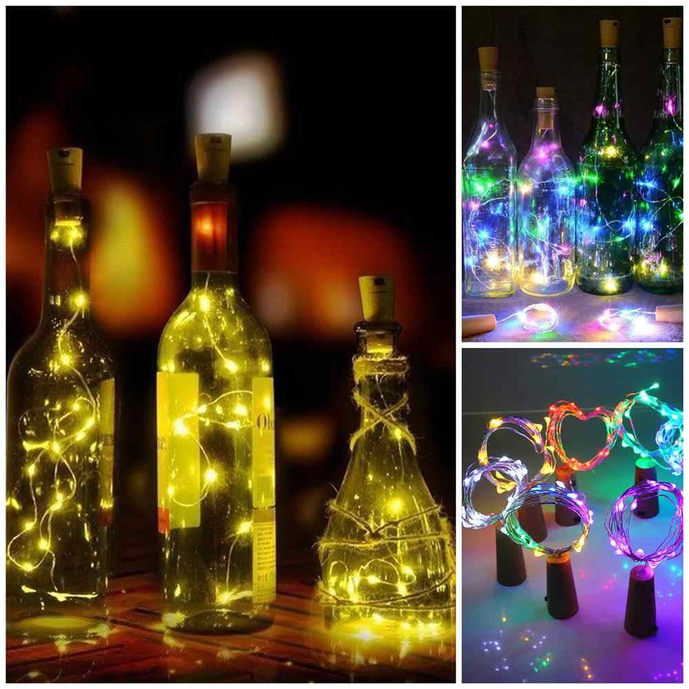 1M 2M LED 화환 구리 실버 와이어 문자열 조명 10 20 LED 병 마개 요정 조명 휴일 웨딩 파티 장식
