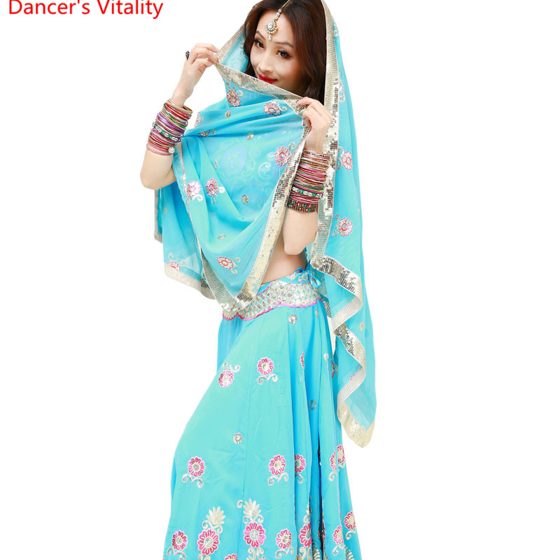 Indian dance dancing Clothes performance Sari veil robe dress Top Trousers Skirt costume clothes wear clothing