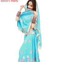 Indian dance dancing Clothes performance Sari veil robe dress Top Trousers Skirt costume clothes wear clothing For Girls