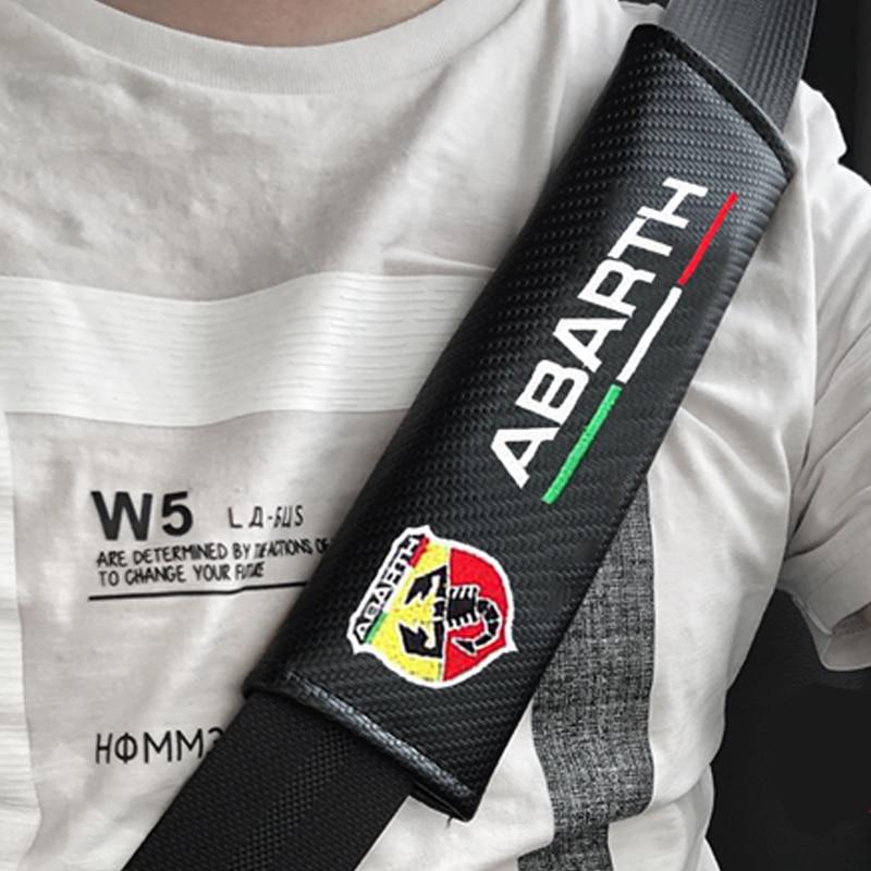 2pcs JDM for ABARTH Carbon fiber seat belt cover shoulder pad Car styling peugeot FIAT 500 Punto Stilo Ducato accessories