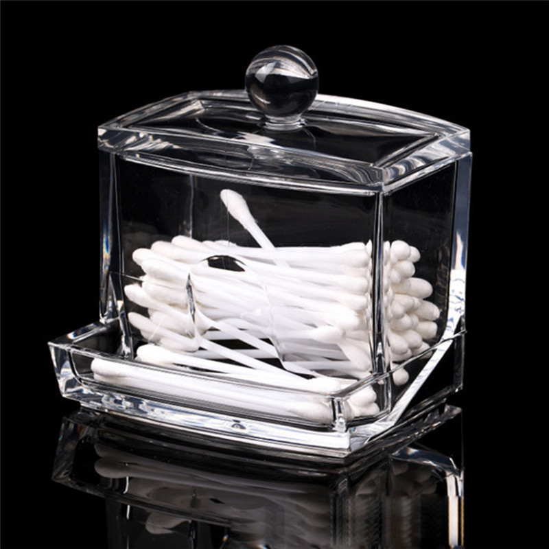 Creative Clear Acrylic Storage Holder Box Transparent Cotton Swabs Stick Cosmetic Makeup Organizer Case High Quality