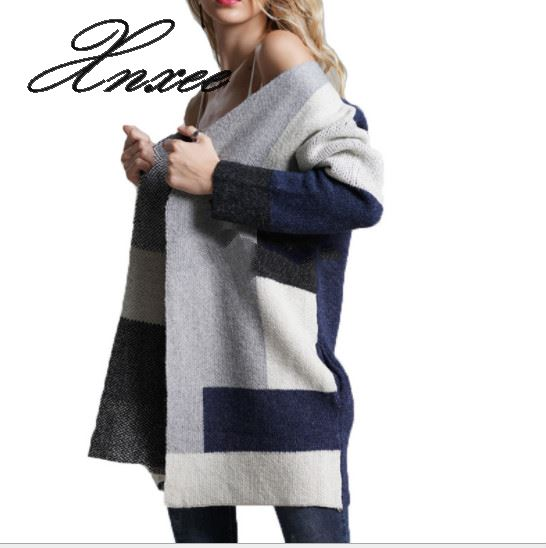 2020 Sweater Female Patchwork Cardigan Loose Long Sleeve Large Size Winter Sweater Female