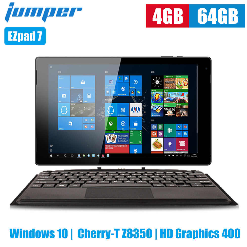 Jumper Ezpad 7 2 Dalam 1 Tablet PC 10.1 Inch Windows 10 Cherry-T Z8350 Quad Core 1.44G Hz 4 GB 64 GB E MMC 6500 MAh Tablet dengan Keyboard