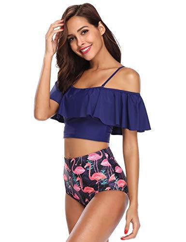 09d461eae69 SEABBOT 2018 Summer Women Plus Size Sexy Bikini Set High Waist Off Shoulder  Ruffles Strap Swimsuit Padded Beachwear Dropshipping