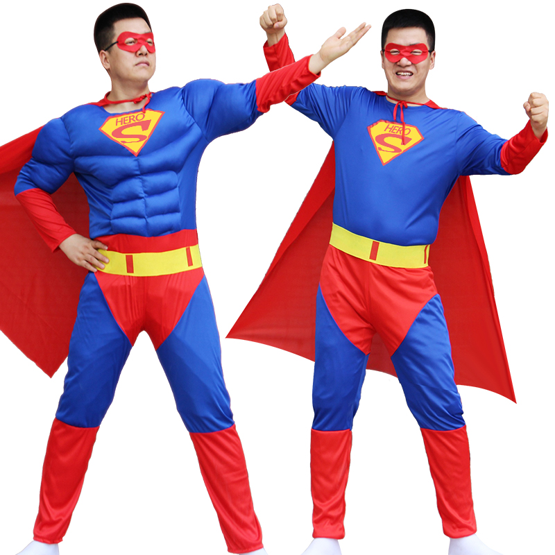 NoEnName Cosplay man Deluxe Muscle Superman Adult superhero movie man of steel cosplay Disfraces Carnival Party Masquerade
